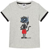 Karl Lagerfeld Kids Grey Snorkeling Bad Cat Print Tee