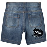 Fendi Blue Branded Print Denim Shorts