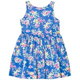 Ralph Lauren Blue Floral Print Party Dress