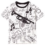 Dolce & Gabbana White Musical Instrument Scribble Tee with Applique Trombone