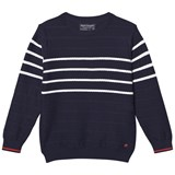 Mayoral Navyy Stripe Textured Knit with Contrast Cuff Detail
