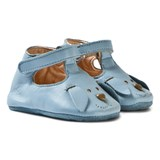 Easy Peasy Blue Loulou Bear Face Crib Shoes