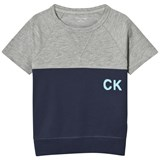 Calvin Klein Grey and Blue Branded Tee