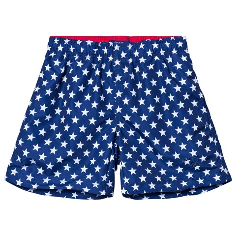 Navy Star Print Branded Swim Shorts