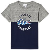 Lacoste Grey Marl and Navy Fairplay Croc Tee