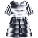 Lacoste Navy and White Jersey Branded Dress