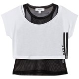DKNY White and Black Double Layered Sports Tee