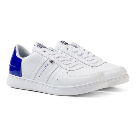 White Lace Trainers with Blue Patent Heel