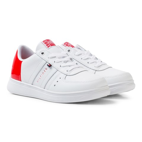 White Lace Trainers with Red Patent Heel