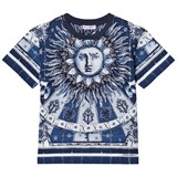 Dolce & Gabbana Blue and White Sun and Tile Print Tee