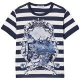 Dolce & Gabbana Blue and White Stripe Capri Print Tee