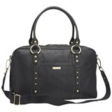 Storksak Black Leather Elizabeth Diaper Bag