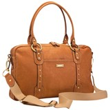 Storksak Tan Leather Elizabeth Diaper Bag