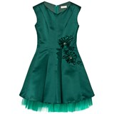 David Charles Green Satin Fit and Flare Dress with Tulle Under Skirt