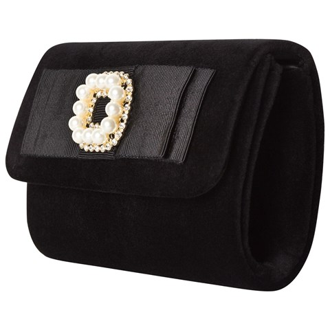 David Charles Black Velvet Clutch with Pearl and Diamante Detail
