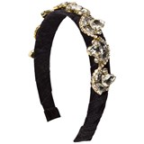 David Charles Black Velvet Jewelled Headband