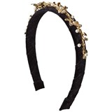 David Charles Black Velvet Gold Floral and Jewelled Headband