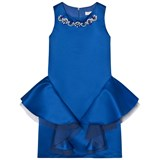 David Charles Royal Blue Satin Dress with Jewelled Neckline