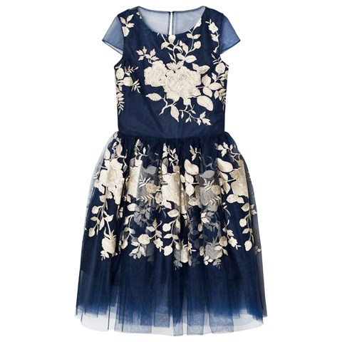 David Charles Navy and Gold Embroidered Tulle Dress