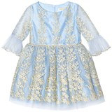 David Charles Aqua and Gold Embroidered Tulle 3/4 Sleeve Dress