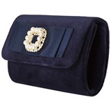 David Charles Navy Velvet Clutch with Pearl and Diamante Detail