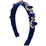 David Charles Royal Blue Velvet Jewelled Headband