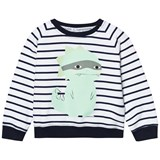 Scamp & Dude Navy and White Stripe Dinosaur Sweatshirt