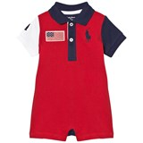 Ralph Lauren Red and Navy Pique Big Pony and USA Romper
