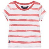 Ralph Lauren Pink and White Stripe Branded Tee