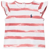 Ralph Lauren Berry Pink and White Stripe Frill Top