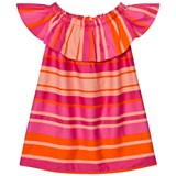 Lands' End Pink Phlox Multi Stripe Woven Ruffle Dress