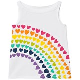 Lands' End White Rainbow Heart Print Tank Top