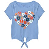 Lands' End Blue Flower Heart Print Tie Front Top