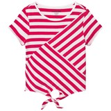 Lands' End Multi Pink and White Stripe Tie Front Top