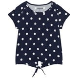 Lands' End Navy Polka Dot Tie Front Top