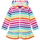 Lands' End Rainbow Stripe Hooded Terry Cover Up