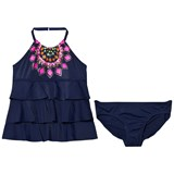 Lands' End Navy Printed Tiered Halterneck Tankini Set