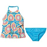 Lands' End Blue Geometric Circle Print Tiered Tankini Set