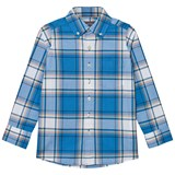Lands' End Blue Plaid Poplin Shirt
