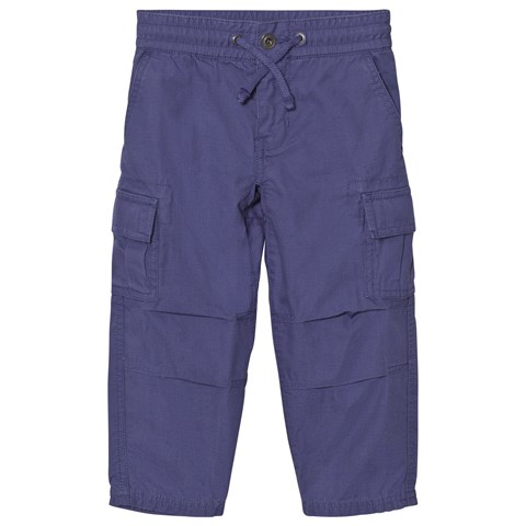 Blue Cotton Ripstop Cargo Trousers