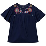 Lands' End Navy Lush Tropics Woven Cover Up