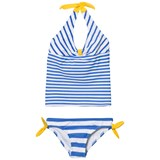 Lands' End White Dark Latigo Blue Stripe Halter Tankini