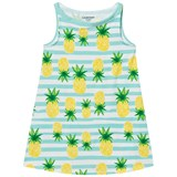 Lands' End Pinapple Stripe Aline Graphic Tank Dress