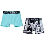 Bjorn Borg Pack of 2 Blue and Multi Print Trunks