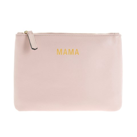 Jem + Bea Beige Tumbled Calf Leather Mama Clutch