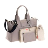 Jem + Bea Grey Tumbled Calf Leather Jemima Changing Bag