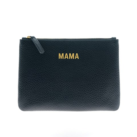 Jem + Bea Black Tumbled Calf Leather Mama Clutch