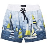 Mayoral Blue Sail Boat Print Swim Shorts