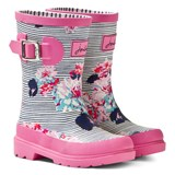 Joules Pink and Navy Stripe Floral Wellies