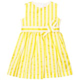 Il Gufo Yellow Stripe Seersucker Silk Bow Dress